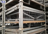 Tugas berat Pallet Storage Cage Folding Galvanized Metallic Box 1200 * 1000 * 890mm