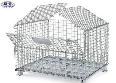 Kawat Palet Palaf Transportasi, Welded Steel Mesh Storage Cages With Cover