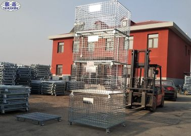 Dilipat Penyimpanan Wire Container Storage Cages Untuk Gudang / Workshop